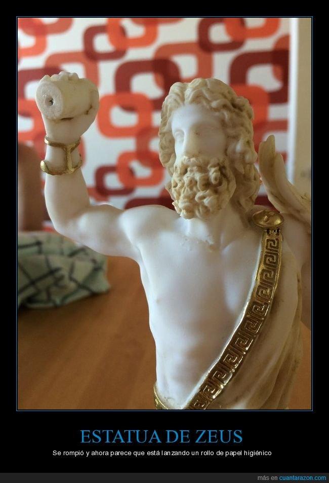 estatua,papel higiénico,rota,zeus