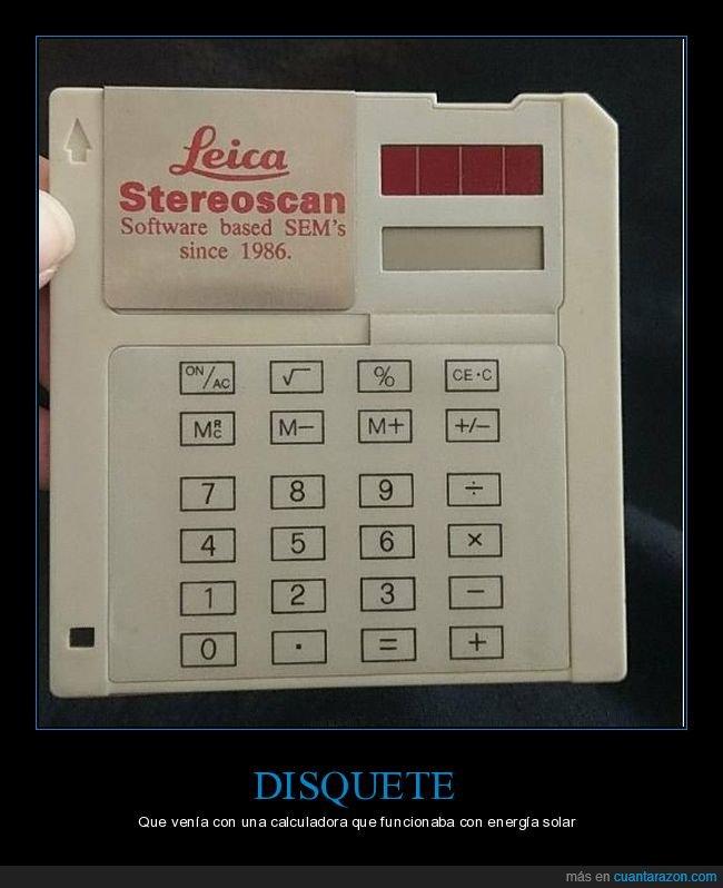 calculadora,disquete,energía solar
