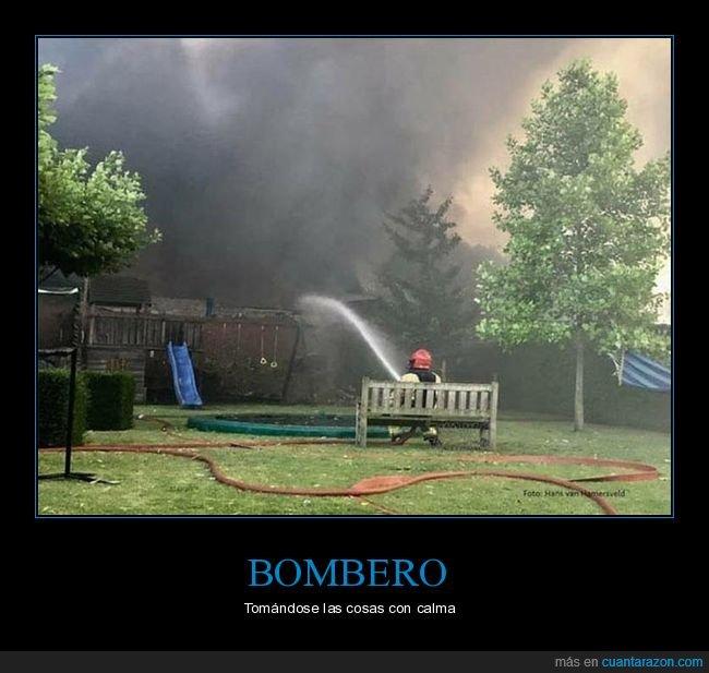 bombero,incendio,sentado