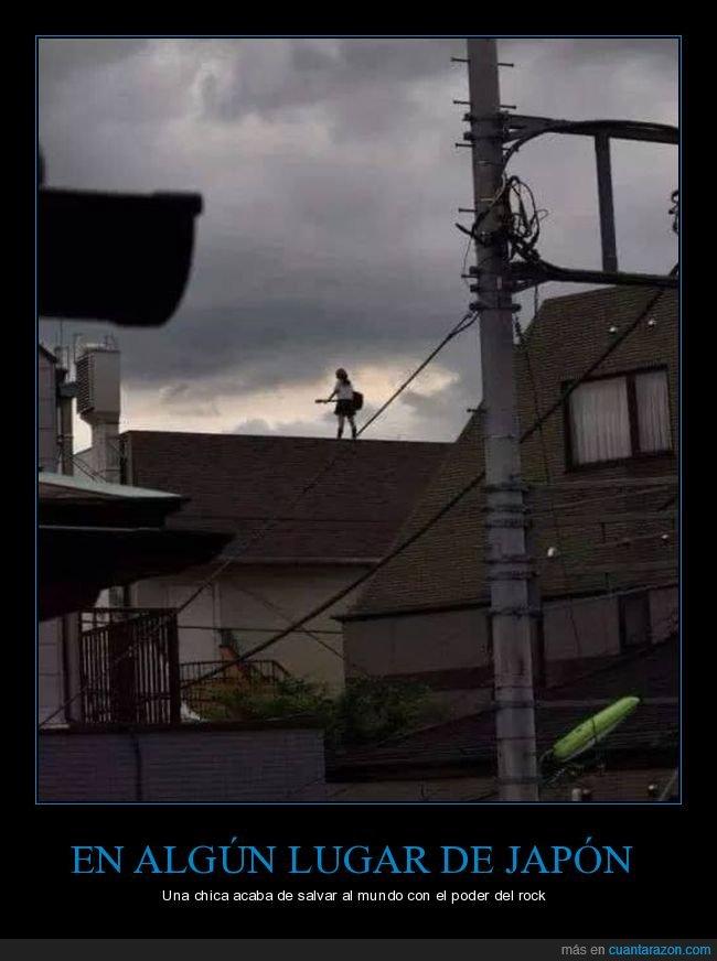 guitarra,japón,mundo,poder,rock,salvar,tejado