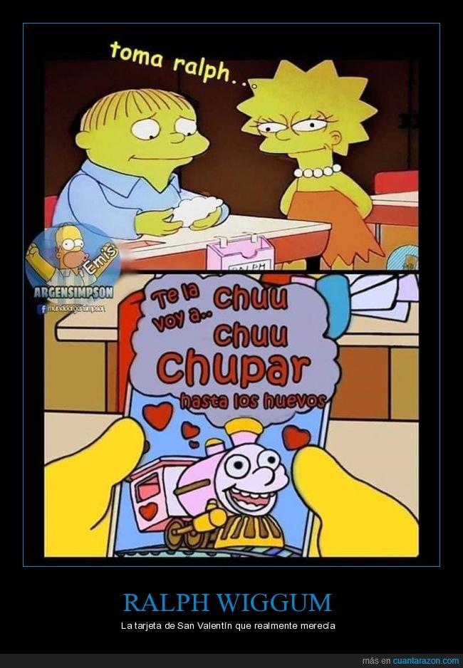 lisa,ralph wiggum,san valentín,simpsons,tarjeta