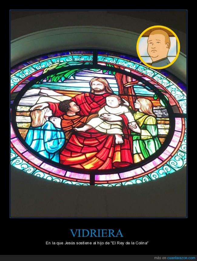 el rey de la colina,iglesia,parecidos,vidriera