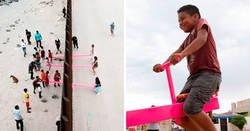 Enlace a Niños de EEUU y México juegan juntos en estos balancines construidos en el muro de la frontera para desafiar a Trump