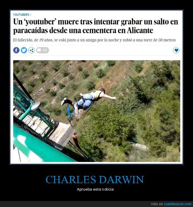 darwin,influencer,paracaídas,salto,youtuber