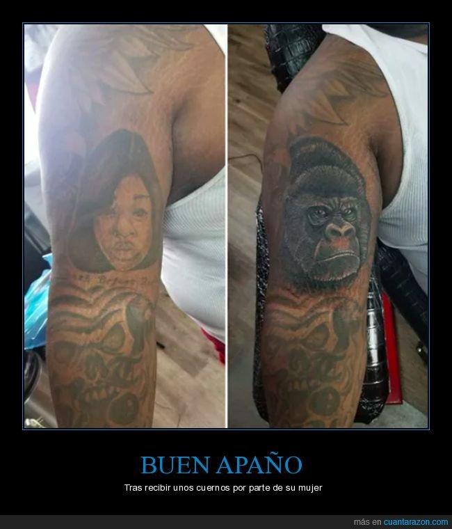 arreglar,gorila,mujer,tatuaje