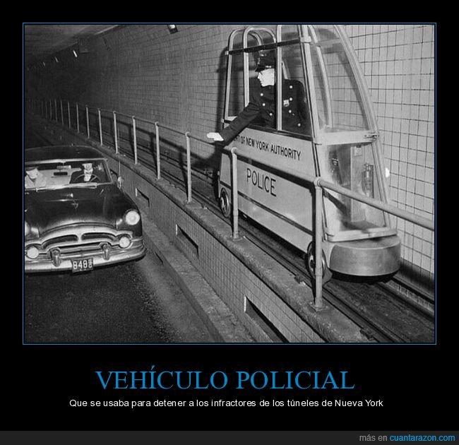 cueriosidades,nueva york,policía,retro,túneles,vehículo