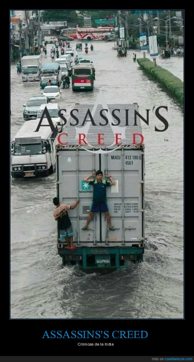 assassin's creed,camión,inundación,wtf
