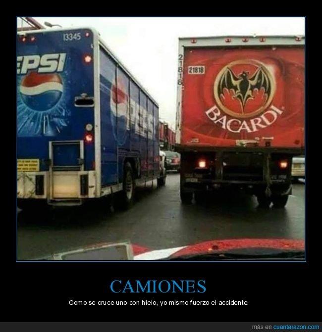 accidente,bacardi,camiones,hielo,pepsi,ron