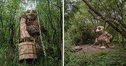 Enlace a Thomas Dambo hace gigantes de madera y los esconde en los bosques de Bélgica