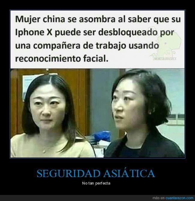 asiáticos,chinos,desbloqueado,iphone,reconocimiento facial,seguridad
