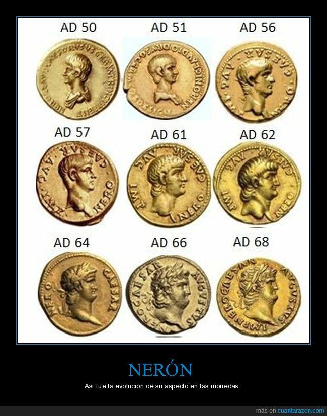 evolución,monedas,nerón,roma