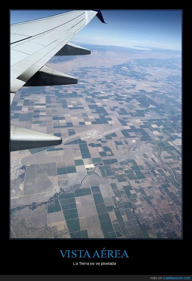 avión,pixelada,tierra,vista aérea