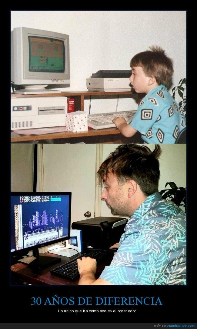30 años,adulto,ahora,antes,niño,ordenador
