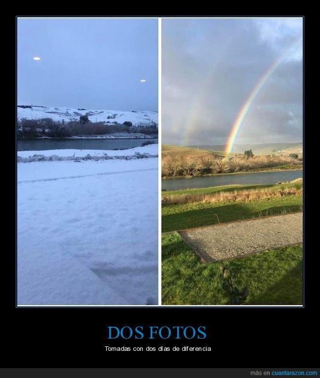 arcoíris,diferencias,dos días,dos fotos,nieve