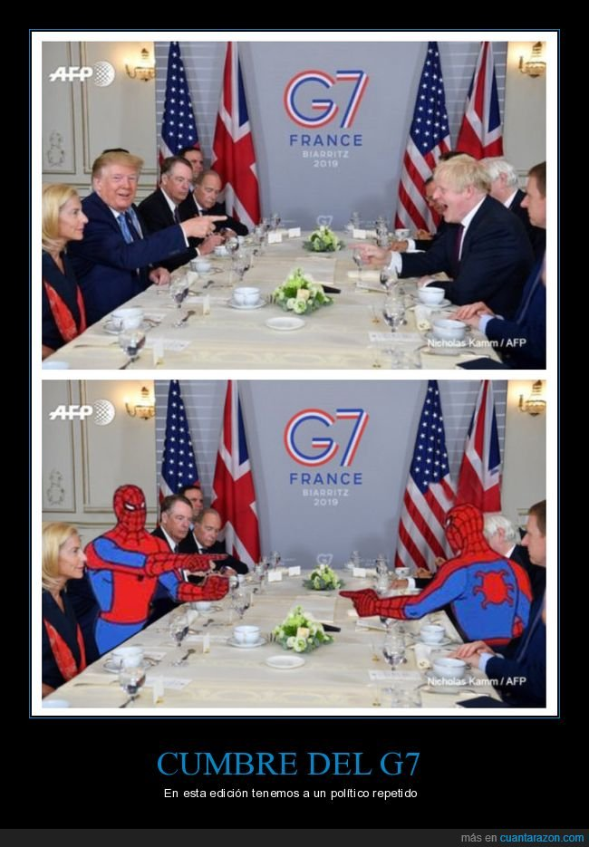 boris johnson,donald trump,g7,parecidos,políticos,spiderman