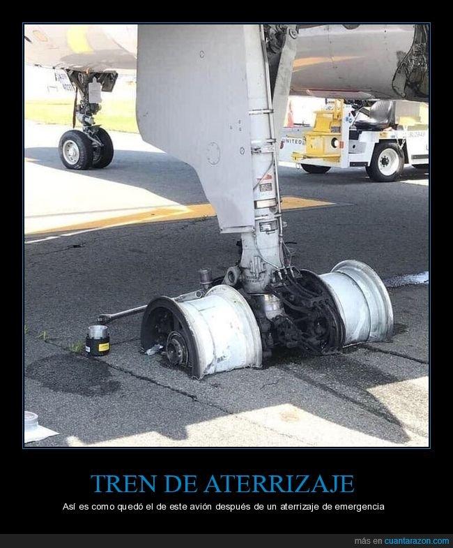 aterrizaje de emergencia,avión,rueda,tren de aterrizaje