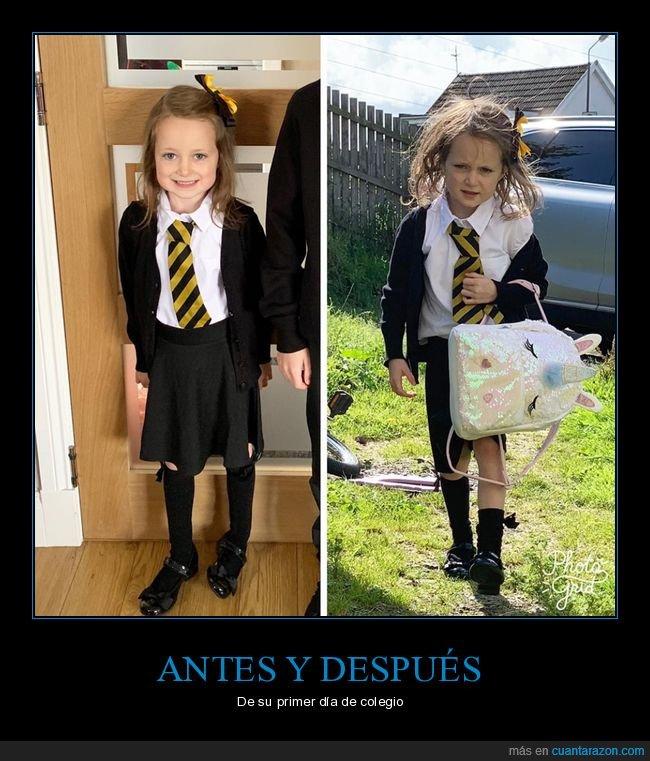antes,colegio,después,niña,primer día,wtf