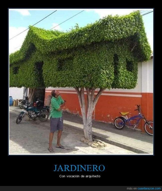 árboles,casa,jardinero