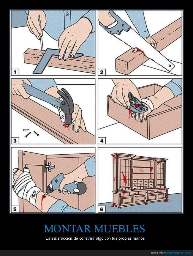 construyendo,heridas,instrucciones,mueble,sangre