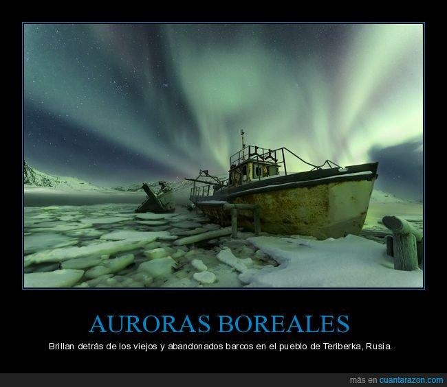 aurora boreal,barcos abandonados,rusia,teriberka