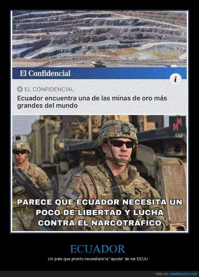 ecuador,eeuu,encontrar,libertad,mina,oro