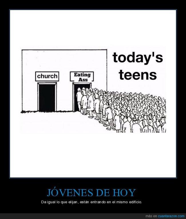 comer culo,iglesia,jóvenes