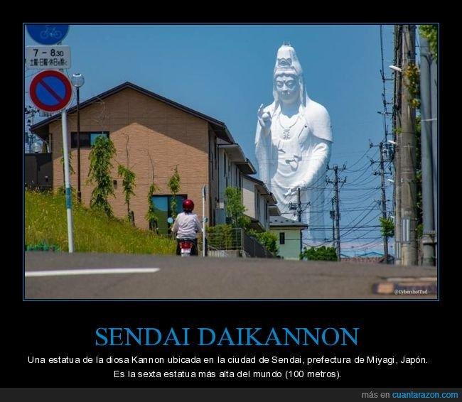 curiosidades,estatua,japón,sendai daikannon
