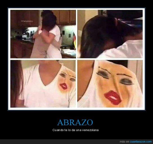 abrazar,camiseta,maquillaje,venezolana