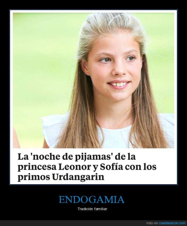 endogamia,familia real,leonor,novhe de pijamas,primos,princesa,urdangarín