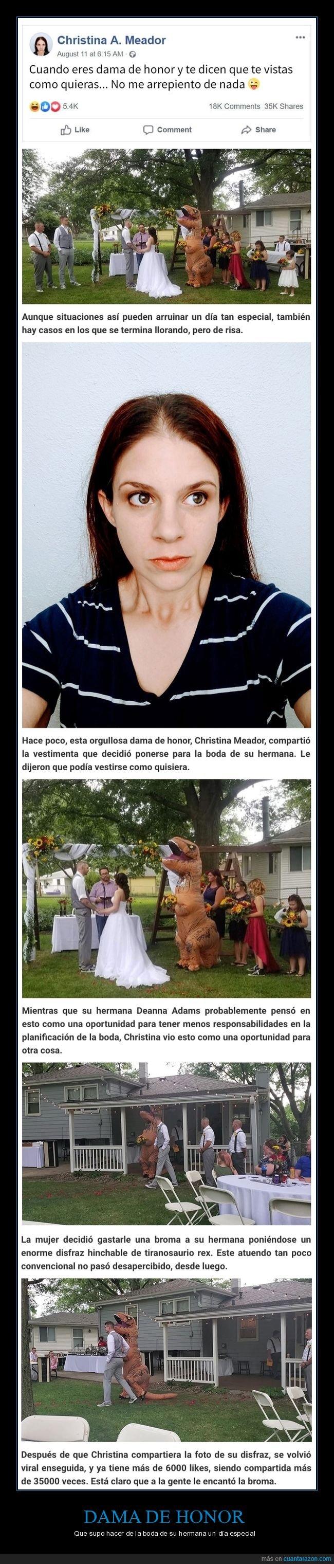 boda,dama de honor,disfraz,hermana,tiranosaurio rex