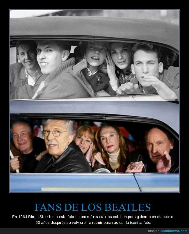 antes,coche,después,fans,los beatles,persoguiendo,recreando,ringo starr