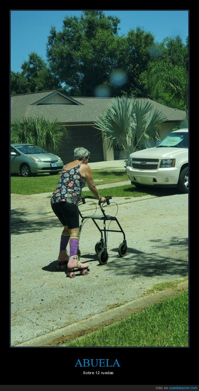 abuela,andador,patines,ruedas,wtf
