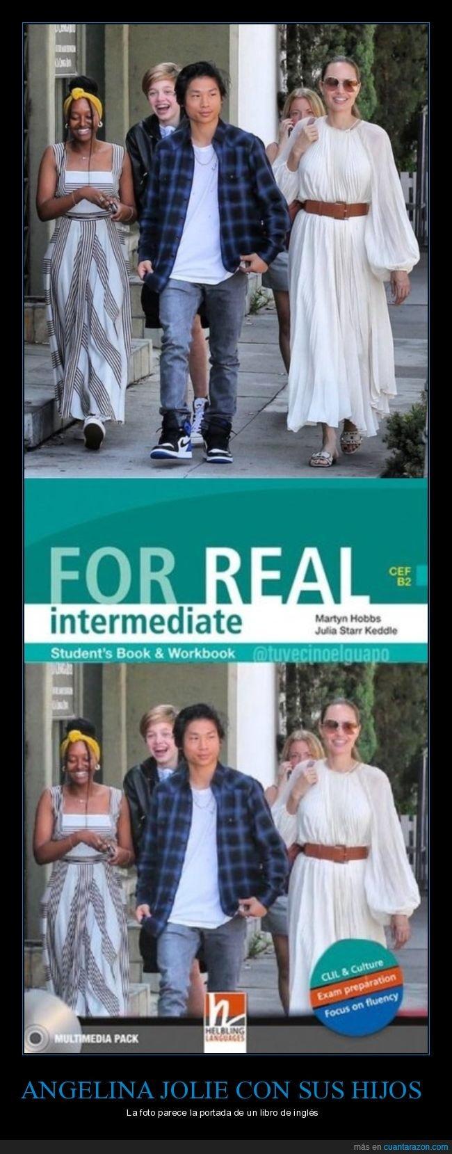 angelina jolie,familia,hijos,libro de inglés,portada