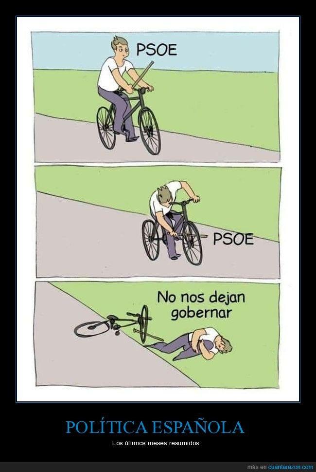 baton roue,bicicleta,gobernar,palo,políticos,psoe