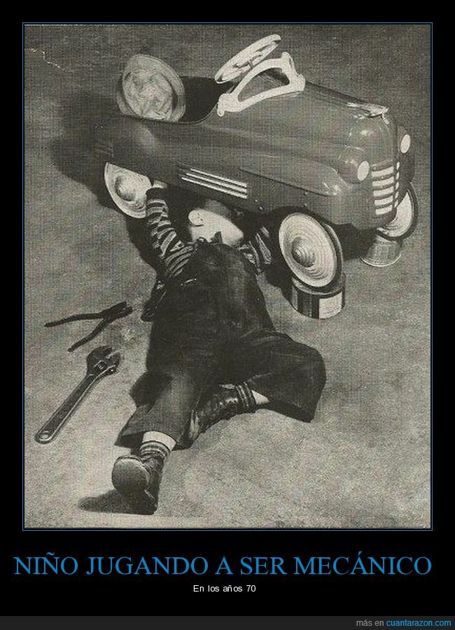 jugando,mecánico,niño,retro