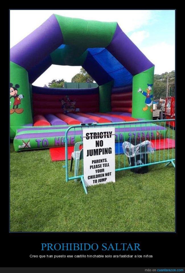 castillo hinchable,niños,prohibición,saltar,wtf