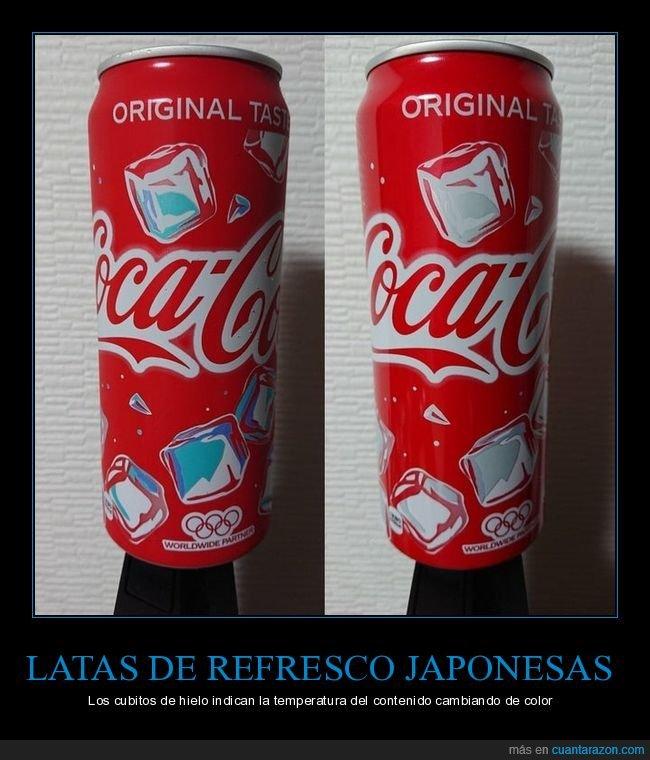 color,cubitos de hielo,japón,latas,refrescos,temperatura