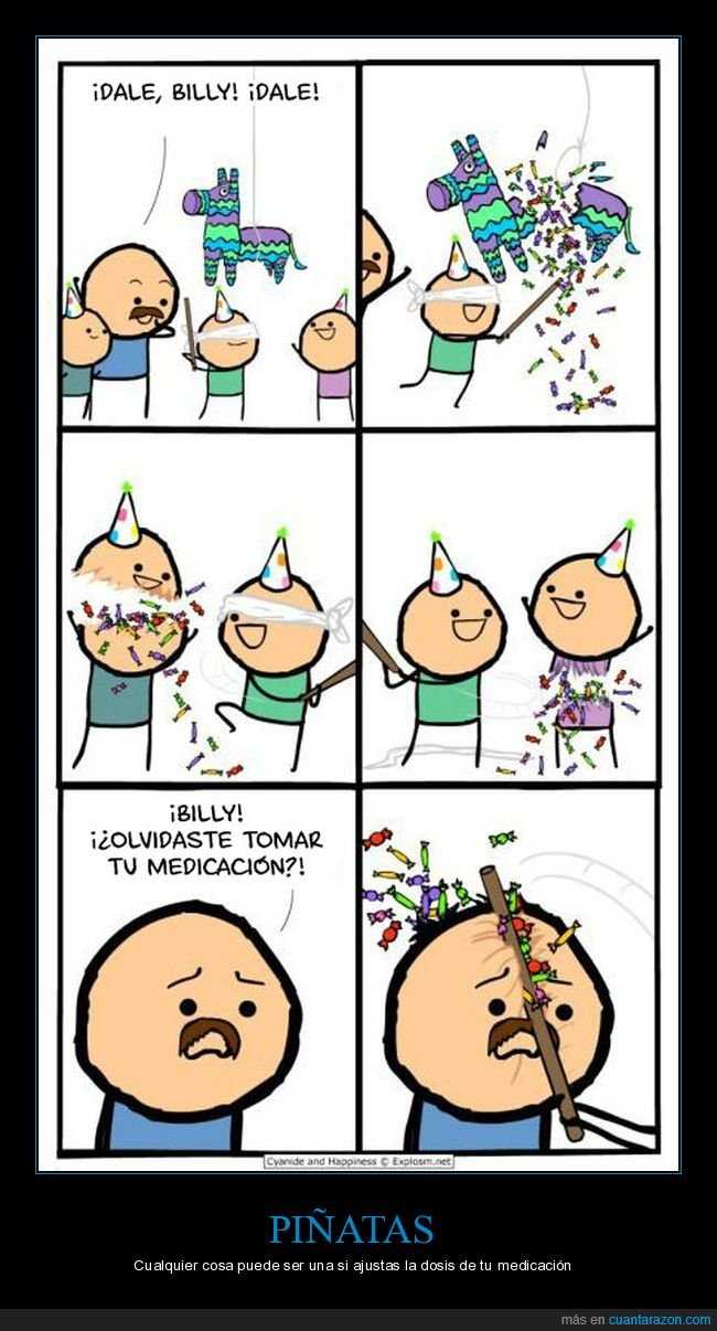 cyanide and happiness,medicación,piñata
