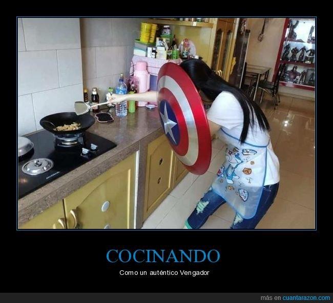 capitán américa,cocinando,escudo
