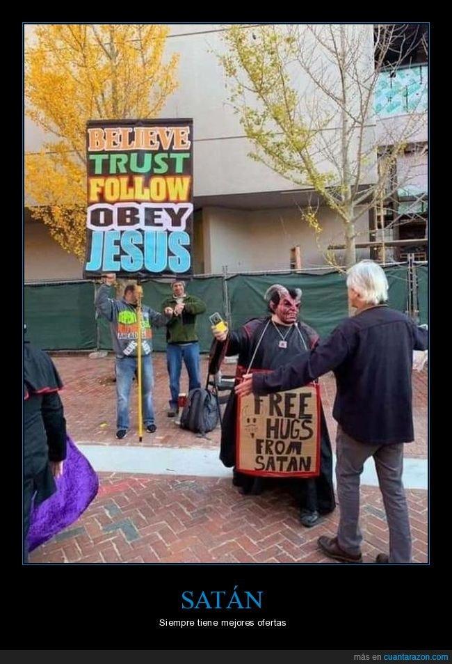 abrazos gratis,cartel,jesús,satán