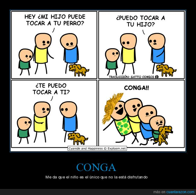 conga,cyanide and happiness,hijo,perro,tocar