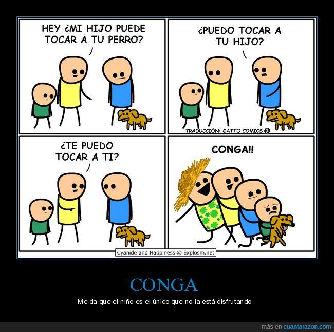 conga,cyanide and happiness,hijo,perro,tocar