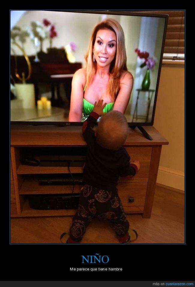 chica,niño,tele,tocando