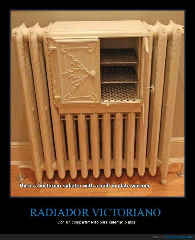 calentar,compartimento,platos,radiador,victoriano
