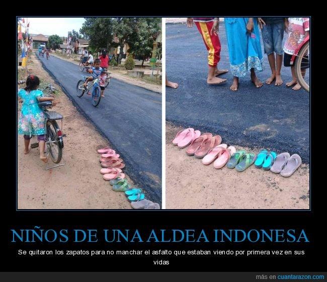 aldea,asfalto,indonesia,niños,zapatos