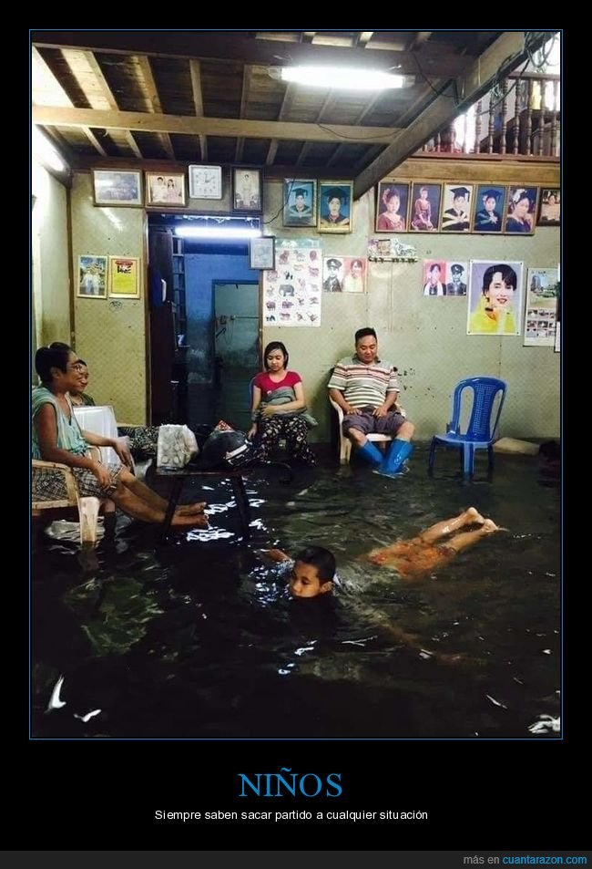 inundación,nadando,niño