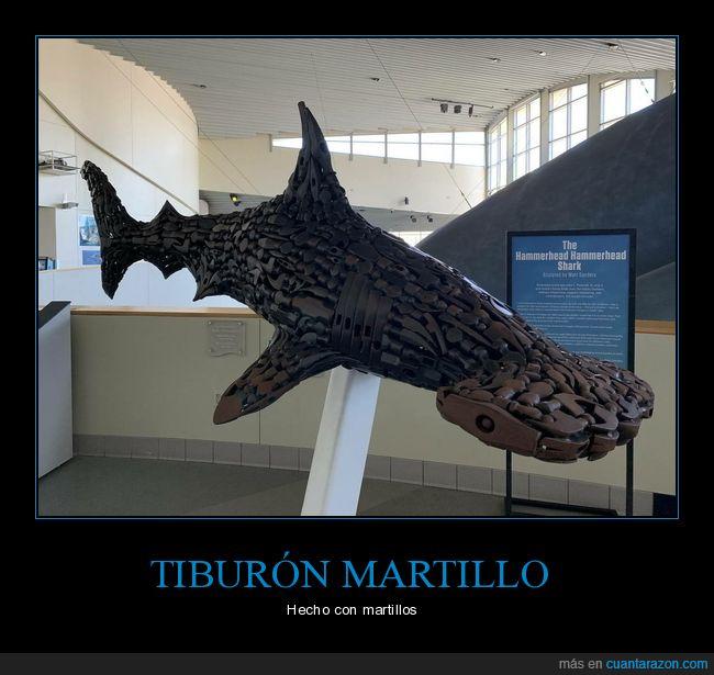 escultura,martillos,tiburón martillo