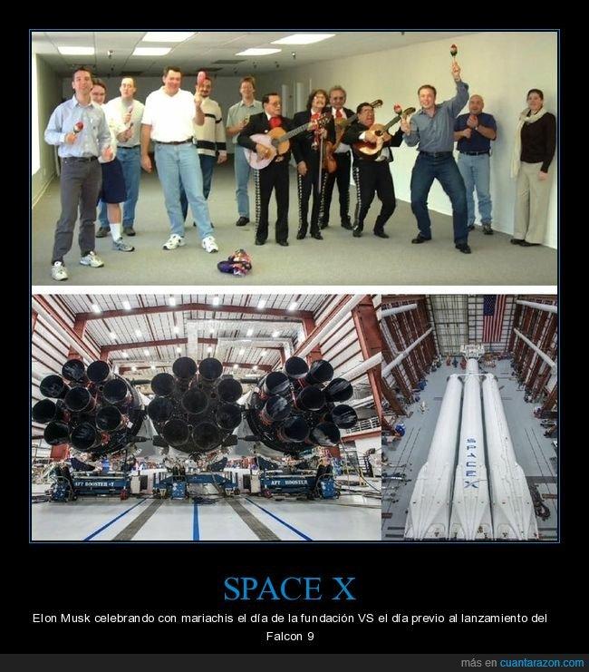 celebrando,elon musk,falcon 9,fundación,space x