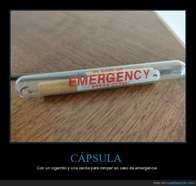 cápsula,cerilla,cigarro,emergencia