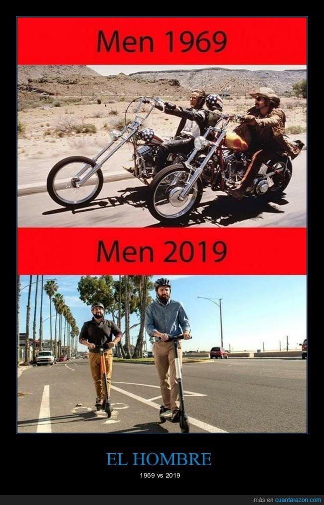 ahora,antes,hombres,motos,patinetes eléctricos